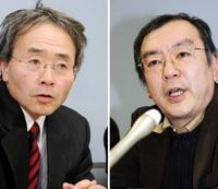 Facing the music: Hiromichi Otsubo (left), a former head of a special investigative squad at the Osaka District Public Prosecutor's Office, and Motoaki Saga, a former deputy head of the squad, speak before reporters in Osaka on Saturday. | KYODO PHOTO