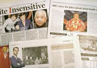 Out of line: British newspapers report on the controversy sparked by a BBC program that joked about Tsutomu Yamaguchi, who lived through both the Hiroshima and Nagasaki atomic bombings in 1945. | KYODO PHOTO