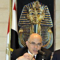 Crossroads: Egyptian Ambassador Walid Mahmoud Abdelnasser faces the media at a news conference at the Egyptian Embassy in Tokyo Wednesday. | YOSHIAKI MIURA PHOTO