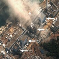 Source of worry: This satellite image provided by the U.S. Institute for Science and International Security on Monday shows the stricken Fukushima No. 1 nuclear power plant and damage to the No. 1 and No. 3 reactors. | ISIS/KYODO PHOTO