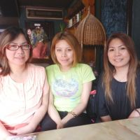 Home away from home: Ofunato residents (from left) Maria Raquel Kon, Ana Nishimura and Erva Sugawara pose for a photo during an interview in late May. | SETSUKO KAMIYA PHOTO