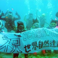 Celebrating scuba style: Members of the Ogasawara Diving Center hold a sign that reads, 'Congratulations Ogasawara World Natural Heritage Site,' in waters off Chichijima Island. | KYODO PHOTO