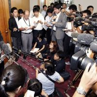 Worst-laid plans: Haruyoshi Yamamoto, vice president of Kyushu Electric Power Co., faces reporters Monday at the Kagoshima Prefectural Government. | KYODO PHOTO