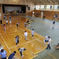 Shelter no more: Residents of Rikuzentakata, Iwate Prefecture, who lost their homes in the March 11 quake and tsunami clean the gymnasium at Rikuzentakata Junior High School No. 1 on Friday before their makeshift shelter of five months closed down. | KYODO