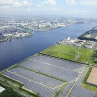 one of the nation's largest solar power plants is under construction on Ougi Island in Kawasaki. | KYODO PHOTO