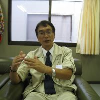 Right man for the job: Yutaka Ikarigawa, recently elected mayor of the tsunami-hit town of Otsuchi, Iwate Prefecture, is interviewed in his office on Sept. 2. | TAKAHIRO FUKADA PHOTO