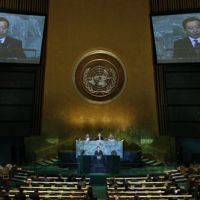 Offering assurances: Prime Minister Yoshihiko Noda addresses a high-level meeting on nuclear safety and security at the 66th session of the U.N. General Assembly on Thursday. | AP