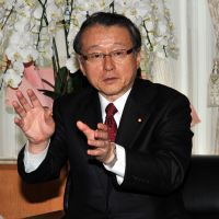 Teaching moment: Education minister Masaharu Nakagawa speaks during an interview with a group of reporters at his office in Tokyo on Wednesday. | YOSHIAKI MIURA
