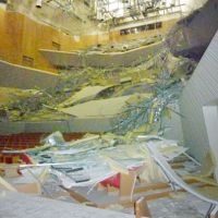 Closed for repairs: Damaged by the March 11 quake, the interior of Muza Kawasaki Symphony Hall in Kawasaki is seen in May. | KYODO