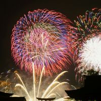 Inspired sparks: Fireworks detonate behind Itsukushima Shrine, a World Heritage site in Hatsukaichi, Hiroshima Prefecture, on Aug. 15. | KYODO PHOTO