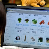 No-stop shopping: A woman views an online supermarket's website Friday in Tokyo. | YOSHIAKI MIURA PHOTO