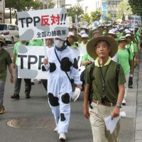 Bringing their anger to market: Cattle farmers express opposition to Japan joining talks on the Trans-Pacific Partnership free-trade initiative during a rally in Tokyo on Sept. 15. | KYODO