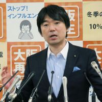 Calling the shots: Osaka Mayor Toru Hashimoto holds a news conference Feb. 9 at City Hall. | KYODO