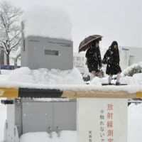 Getting a reading: Snow covers a radiation-measuring device on the campus of Fukushima University on Saturday. | KYODO