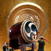 Global roll: Members of Ondeko-za beat traditional 'wadaiko' drums at the U.N. headquarters in New York on Monday during an event to show global solidarity with disaster victims. | KYODO
