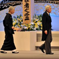 Backup: Emperor Akihito and Empress Michiko attend the national memorial service for 3/11 victims Sunday in Tokyo. | AP