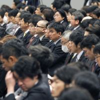 School of talk: Aspiring lawmakers in Osaka on Saturday attend the opening ceremony for Ishin Seiji Juku, an entity set up by Osaka Ishin no Kai (One Osaka) to train budding politicians. | KYODO