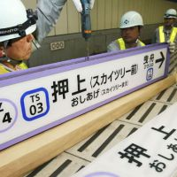 Out with the old: Workers replace a signboard at Tokyo Metro Co.'s Oshiage Station early Monday with a new one reading Oshiage (Skytree) Station after the station closest to the tower was renamed ahead of Tuesday's official opening of the 634-meter-tall attraction. | KYODO