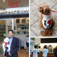 Going to the dogs: Takao Yamada, president of Dog Dept Cafe operator Net Work Co., stands outside his cafe in Tokyo Skytree Town. Top right: A dog wears a Skytree outfit. Bottom right: The Dog Dept Cafe is bustling after its debut Tuesday. | KYODO