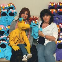 Helping hand: Israeli puppet therapist Daniela Hadasy (left) sits with her hand-made puppets, which she will give to children at two elementary schools in Miyagi Prefecture. | JAPANESE PUPPET THERAPY ASSOCIATION / KYODO