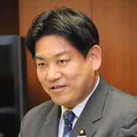 Dam nation: Newly appointed infrastructure minister Yuichiro Hata meets the press in Tokyo on Wednesday. | SATOKO KAWASAKI