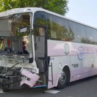 Going nowhere fast:  This bus rear-ended a truck Thursday on the  Tohoku Expressway in Shiroishi, Miyagi Prefecture. | KYODO