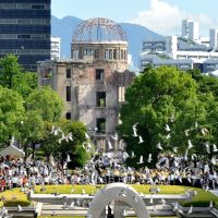 Ground zero: Doves fly over Hiroshima Peace Memorial Park during a memorial ceremony Monday to mark the 67th anniversary of the world's first atomic bombing. | AFP-JIJI