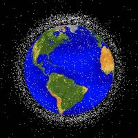 Dangerous debris: The locations of space debris in relatively low orbits around the Earth are displayed in this NASA image. | KYODO