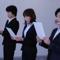 Shiga's angels?: Mami Uchida, Masako Kawada and Toshiko Fuse read the police officers' oath at a reinstatement ceremony at the headquarters of the Shiga Prefectural Police earlier this month. | CHUNICHI SHIMBUN