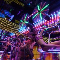 Cabaret: Decked out with lights and carrying a bevy of showgirls, the Robot Restaurant's model of a B-52 bomber in  Tokyo's Kabukicho district is seen as the latest form of adult entertainment. | KYODO