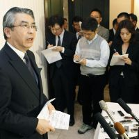 It's a wrap: Shinsuke Sugiyama, head of the Foreign Ministry's Asian and Oceanian Affairs Bureau, briefs reporters Friday in Ulan Bator after senior-level talks with North Korea concluded. | KYODO