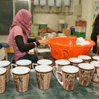 Clay nation: Souvenir cups made of Japanese clay are lined up at a pottery factory in Alexandria, Egypt, in late December. | KYODO