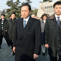 Center of dispute: Former Prime Minister Yukio Hatoyama visits a memorial hall in Nanjing Thursday dedicated to victims of the Nanjing Massacre, a mass killing of civilians by Imperial Japanese Army soldiers that occurred in 1937. | KYODO