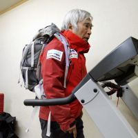 Striving for new heights: Veteran alpinist Yuichiro Miura trains in a low-oxygen room at his company, Miura Dolphins, in Shibuya Ward, Tokyo, last Nov. 30. | KYODO