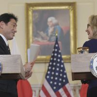 Senkakus sentry: U.S. Secretary of State Hillary Rodham Clinton and Foreign Minister Fumio Kishida hold a joint news conference Friday at the State Department in Washington. | AP