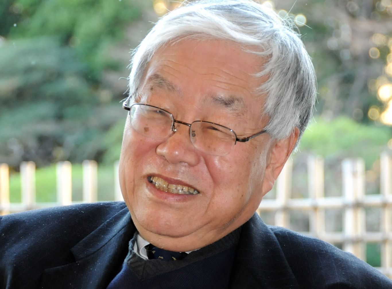 Talking finance: Koichi Hamada, professor emeritus of Yale University, is interviewed Thursday at International House of Japan in Minato Ward, Tokyo. | SATOKO KAWASAKI