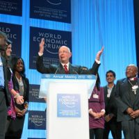 Klaus Schwab, the founder of the World Economic Forum, speaks at last year's Davos annual meeting. | WORLD ECONOMIC FORUM