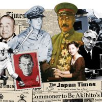 Making the news (l to r): Donald Richie, Shigeo Nagashima, Shigeru Yoshida, Richard Sorge (on stamp), Douglas MacArthur, Hideki Tojo, Michiko Shoda (playing piano), Akio Morita, Akira Kurosawa (behind the camera) and Eiko Ishioka. | JAPAN TIMES COLLAGE