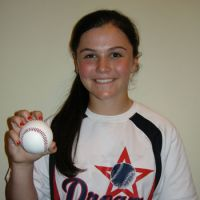 Big dreams: Knuckleball pitcher Chelsea Baker flashes a smile during a recent interview session in Tokyo. | KAZ NAGATSUKA