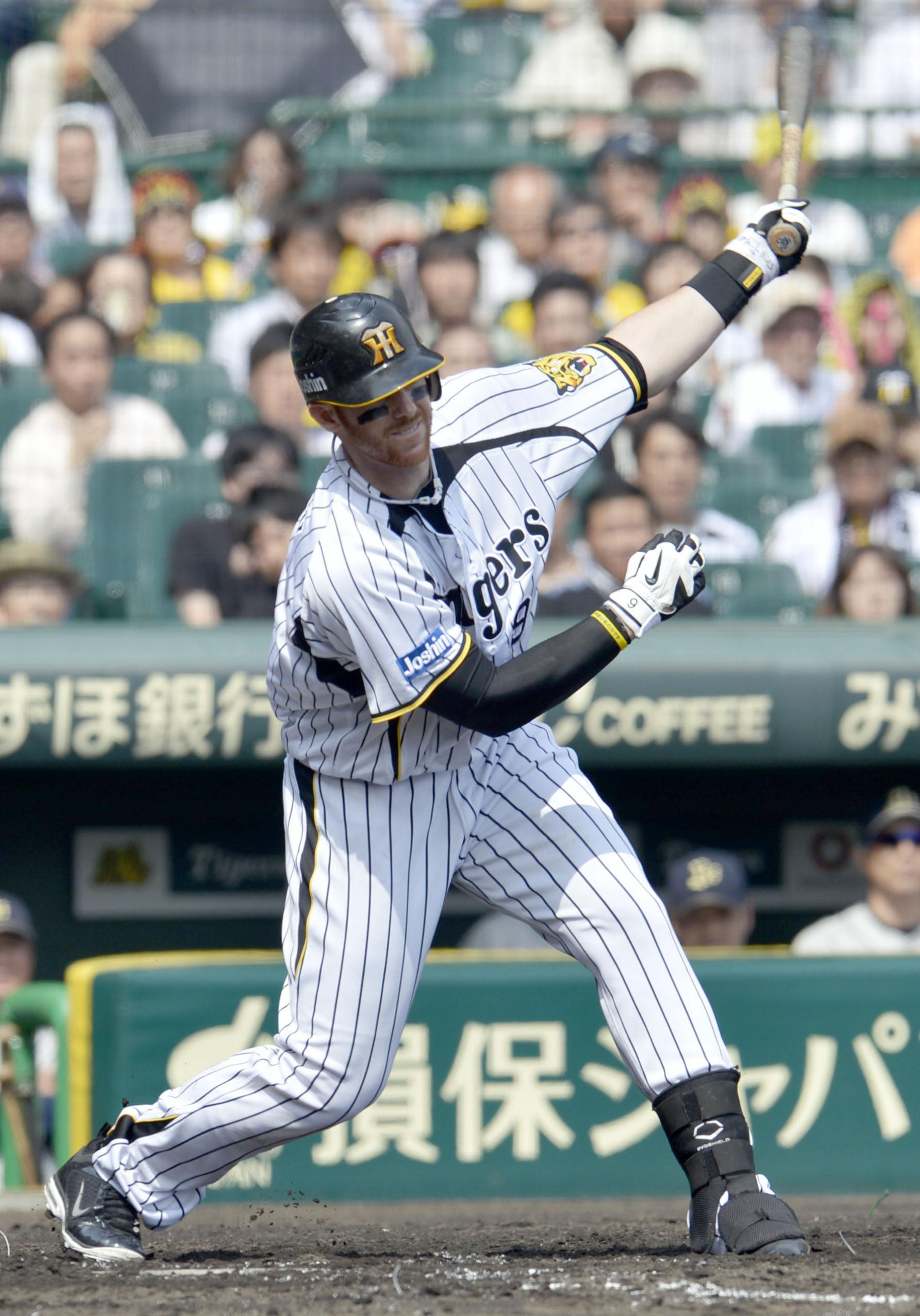Say that again: The language barrier is something players such as Hanshin's Matt Murton have to navigate in Japan. | KYODO