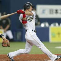 Getting the job done: The Buffaloes' Mitsutaka Goto belts a two-run homer in the fourth inning against the Fighters on Tuesday at Kyocera Dome. Orix defeated Hokkaido Nippon Ham 6-3. | KYODO