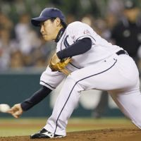 How low can you go: Lions starter Kazuhisa Makita pitches against the Hawks on Thursday at Seibu Dome. The Lions won 9-2. | KYODO