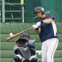 Play ball: Hiroyuki Nakajima of the Seibu Lions takes batting practice on Friday at Seibu Dome. Game 1 of their first-stage Pacific League Climax Series against the defending Japan Series champion Fukuoka Softbank Hawks is scheduled for Saturday. | KYODO PHOTO