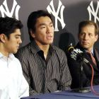 Special pairing: Agent Arn Tellem (right) appears at a news conference with Hideki Matsui in 2005 after the slugger agreed to a new contract with the New York Yankees.