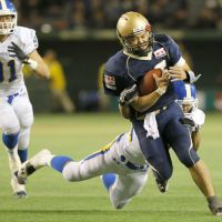 Big honor: Obic quarterback Shun Sugawara earns the Rice Bowl MVP award on Thursday after leading the Seagulls to a 21-15 victory over Kwansei Gakuin University at Tokyo Dome. | KYODO