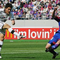 Full force: Shimizu S-Pulse's Toshiyuki Takagi nets the game-winning goal in the 77th minute against FC Tokyo on Saturday at Ajinomoto Stadium. Shimizu won 1-0. | KYODO