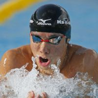 Special achievement: Swimmer Akihiro Yamaguchi shatters the world record in the 200-meter men's breaststroke on Saturday in Gifu, finishing his race in 2 minutes, 7.01 seconds at the National Sports Festival in Gifu. | KYODO