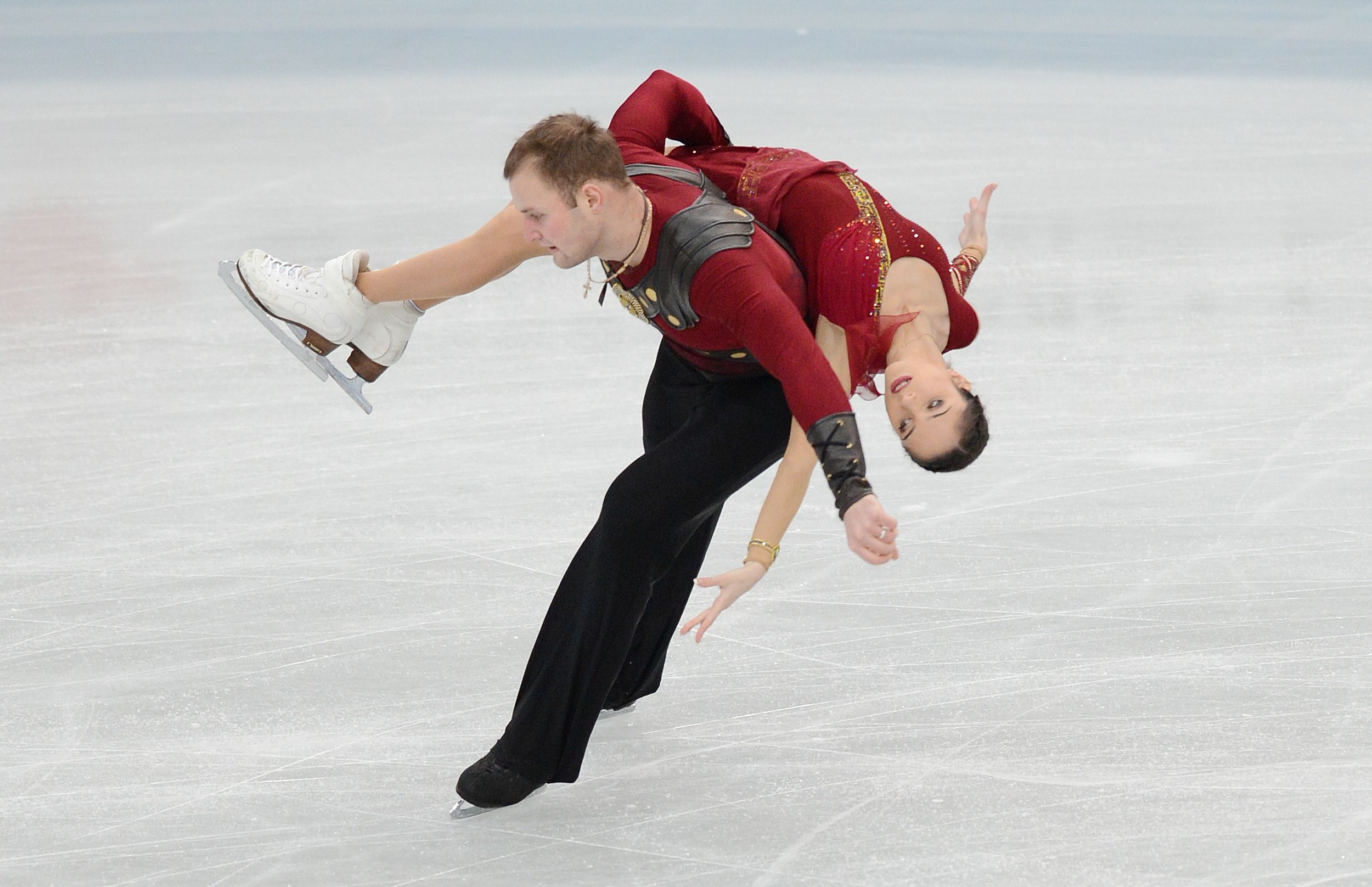 Northern lights: Russia's Vera Bazarova (right) and Yuri Larionov perform their free skate routine at the NHK Trophy in Sendai on Sunday. | AFP-JIJI
