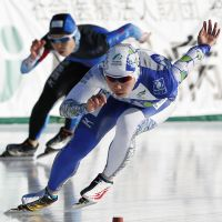 Need for speed: Nao Kodaira competes in the 500-meter race at the speedskating national sprint championships in Kushiro, Hokkaido, on Saturday. | KYODO