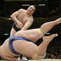 Hit the deck: Yokozuna Harumafuji sends ozeki Kotoshogiku to the ground during their bout on Thursday.